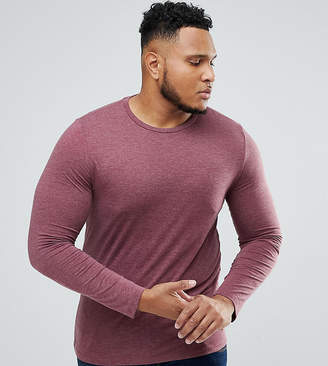 Asos PLUS Long Sleeve T-Shirt With Crew Neck In Red