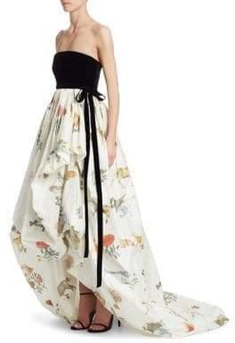 Oscar de la Renta Strapless Animal Skirt Gown