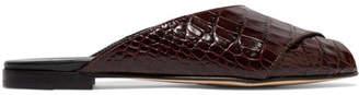 Trademark - Croc-effect Leather Slides - Brown