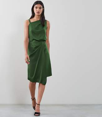 Reiss OSTIA ONE SHOULDER COCKTAIL DRESS Emerald