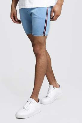boohoo Skinny Fit Denim Shorts With Side Tape