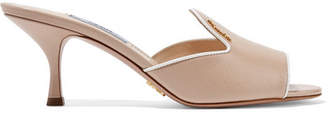 Prada Logo-embellished Glossed Textured-leather Mules - Beige
