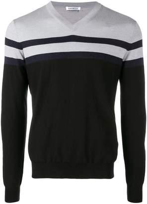 Dirk Bikkembergs panelled stripe sweater