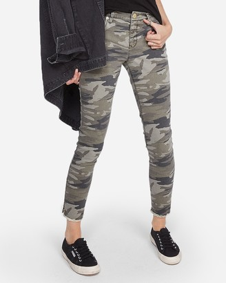 Express Mid Rise Camo Print Stretch Ankle Leggings