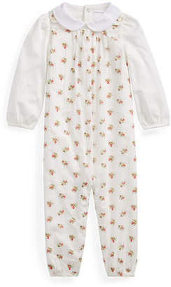 Ralph Lauren Childrenswear Cotton Voile Floral Overalls w/ Peter Pan Collar Bodysuit, Size 6-24 Months
