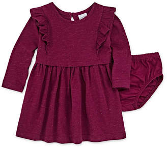 Okie Dokie Long Sleeve Ruffle Dress - Baby Girl 3M-24M