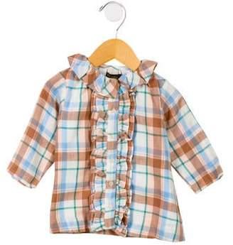 Velveteen Girls' Plaid Button- Up Dress w/ Tags