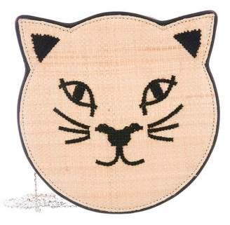 Charlotte Olympia Straw & Leather Pussycat Purse