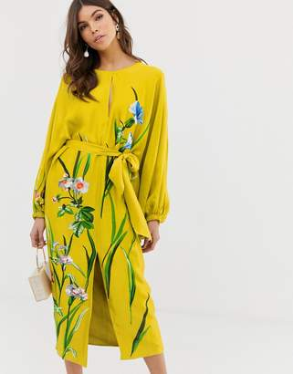 Asos Edition EDITION floral embroidered belted midi dress in satin