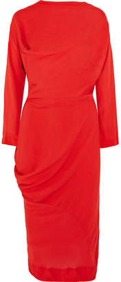 Vivienne Westwood New Fond Asymmetric Draped Voile Midi Dress - Red