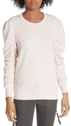 Joie Hencia Ruched Sleeve Pima Cotton Sweatshirt