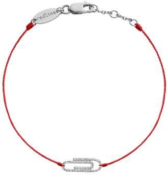 Redline Trombone Red String Bracelet - White Gold