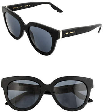 Brian Atwood 52mm Oval Leather Sunglasses