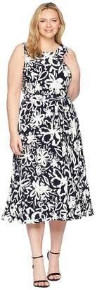 Lauren Ralph Lauren Plus Size B551 Coastal Floral Feliana Sleeveless Day Dress Women's Dress