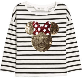 H&M Reversible sequined top - White