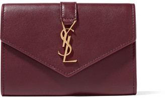 Saint Laurent - Envelope Leather Wallet - Burgundy $425 thestylecure.com