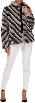 Gorski Diagonal Striped Rabbit Fur Coat