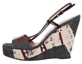 Alaia Denim Platform Wedge Sandals