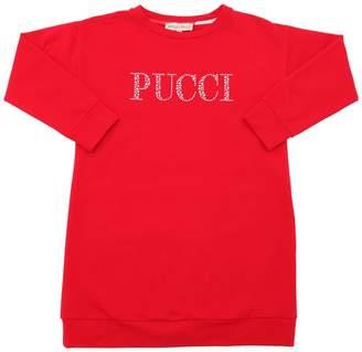 Emilio Pucci Logo Embellished Cotton Sweatshirt Dress