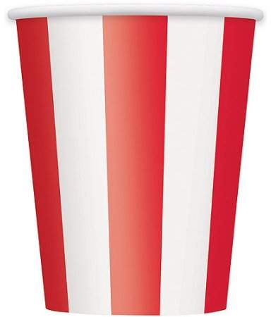 Unique Industries 12oz Striped Paper Cups, Red, 6ct
