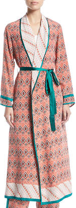 Talitha Collection Almasi-Print Silk Robe Coat with Self-Tie Belt