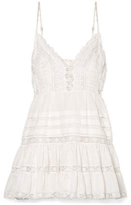 Zimmermann Iris Lace-paneled Swiss-dot Cotton Mini Dress - Ivory