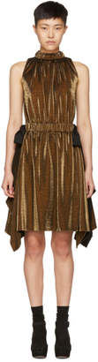 Fendi Gold Lurex Bows Halter Dress