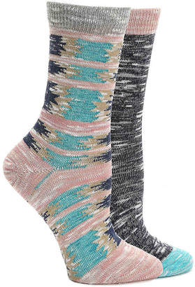 Lucky Brand Marled Geometric Crew Socks - 2 Pack - Women's