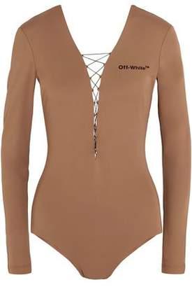 Off-Whitetm Lace-Up Appliquéd Stretch-Jersey Bodysuit