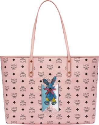 MCM Rabbit Top Zip Shopper In Visetos