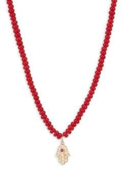 Sydney Evan 14K Yellow Gold, Diamond& Coral Hamsa Beaded Necklace