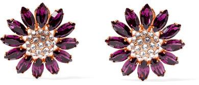 Miu MiuMiu Miu - Gold-tone Crystal Clip Earrings - Purple