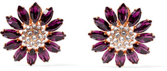Miu Miu - Gold-tone Crystal Clip Earrings - Purple $380 thestylecure.com