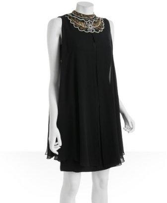 Nicole Miller black beaded detail silk shift dress
