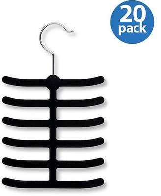 Honey-Can-Do 12-Hook Non-Slip Tie Hanger, Black (Pack of 20)