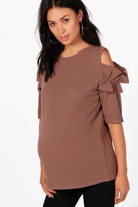 boohoo Maternity Sara Frill Sleeve Cold Shoulder Top