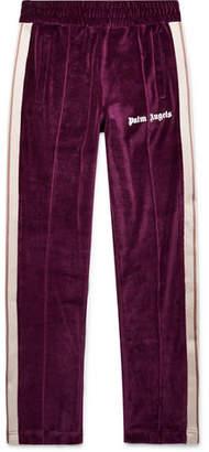 Palm Angels Slim-Fit Logo-Print Webbing-Trimmed Cotton-Blend Velvet Sweatpants