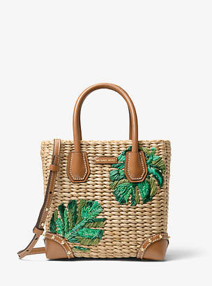 Michael Kors Malibu Palm Embroidered Woven Straw Crossbody