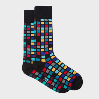 Men's Black Multi-Coloured Tile Pattern Socks $30 thestylecure.com