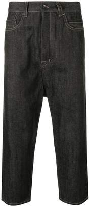Rick Owens cropped raw denim jeans