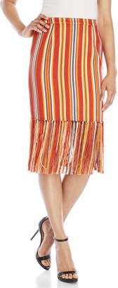 Pink Tartan Beach Stripe Fringe Pencil Skirt