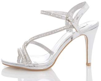 Quiz Silver Metallic Slant Strap Heels
