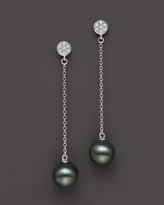 Bloomingdale's Cultured Tahitian Pearl and Diamond Drop Earrings in 14K White Gold, 9mm