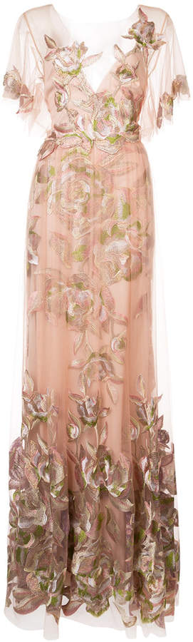 Marchesa Notte floral-embroidered gown