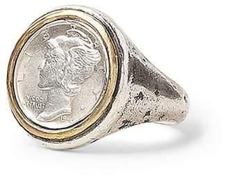 John Varvatos Collection Sterling Silver & Brass Artisan Metals Mercury Dime Signet Ring