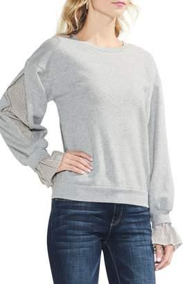 Vince Camuto Mix Media Ruffle Sleeve Sweatshirt