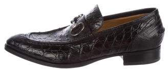 Gucci Alligator And Ostrich Dress Loafers