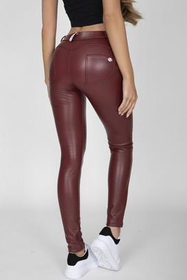 7d969924205821 at Little Mistress · Hugz Jeans Wine Mid Waist Faux Leather Pants