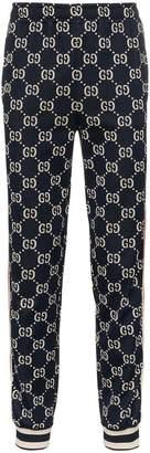 Gucci Blue GG Supreme Print Cotton Blend Sweat Pants