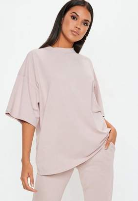 Missguided Cream Drop Shoulder Oversized T Shirt